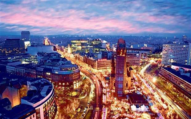 View of Berlin from above during the sunset