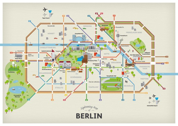 Cartoon map of the S-bahn and U-bahn transit map of Berlin, Germany.