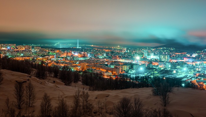 Uphill sight of the city of Murmansk, in European Russia, the biggest city in the Artic Circle.