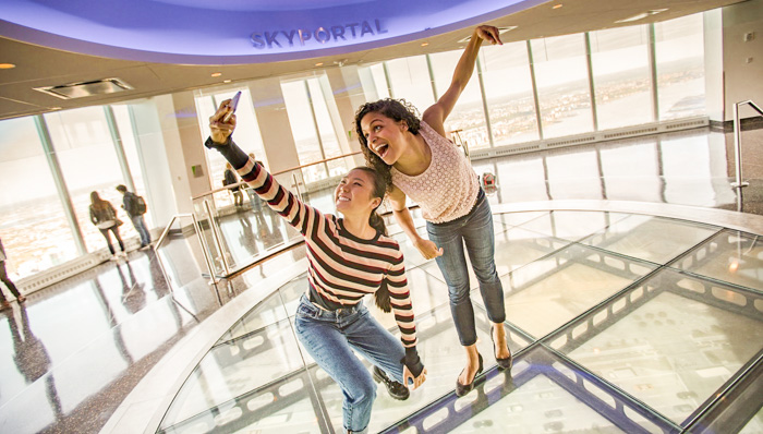 Visitors taking selfies at the One World Observatory