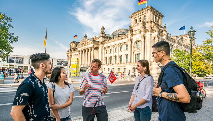 Tourists on a guided tour of Berlin