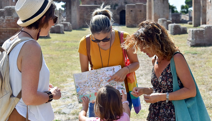 Tourists at Ostia Antica