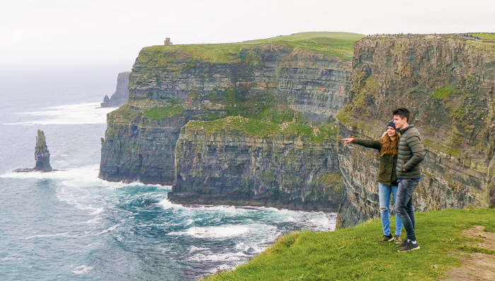 Couple at the Cliffs of Moher, day trip from dublin