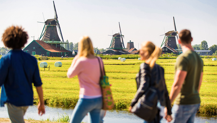 Tourists in Dutch countryside
