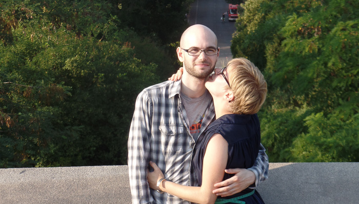 the best proposal stop, on a waterfall hike in Giessbach in Thun