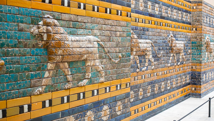 mosaic mural with lions in pergamon museum of berlin