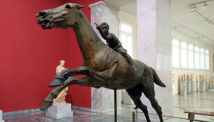 a kid riding a horse sculpture at athens art gallery of national archaeological museum