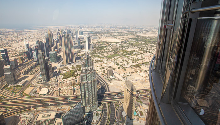 View from the Burj Khalifa in Dubai on a sunny day