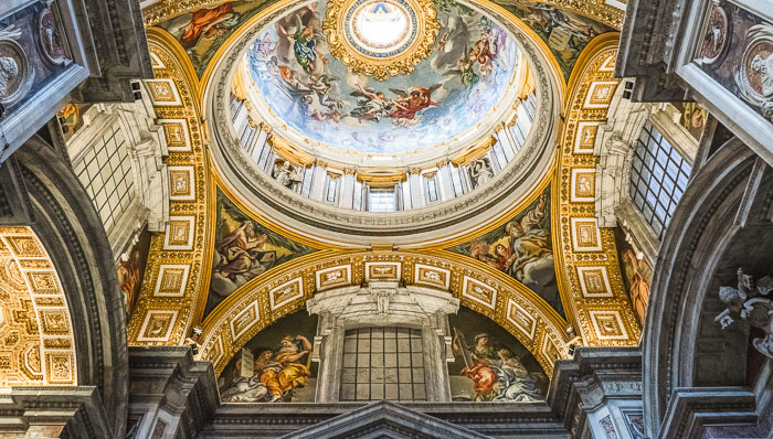 Picture of the ceiling inside one of the churches of the Vatican