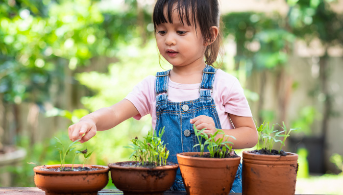 Little girl in overalls plays with plants in the garden.