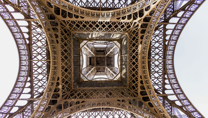 a view of the Eiffel Tower from below