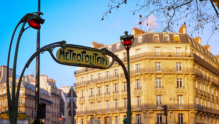 Entrance of a metro station in Paris.