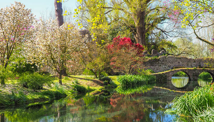 "The Ninfa gardens with an old stone bridge reflecting in the river. The trees are blooming in the ""most romantic garden in the world""."