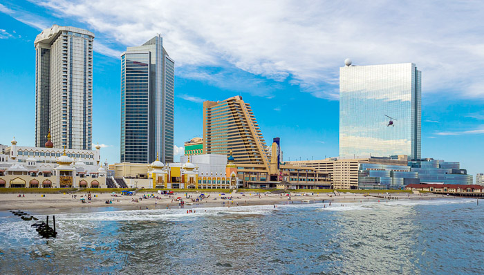 Atlantic City is known for its sandy beaches and high-rise hotels.