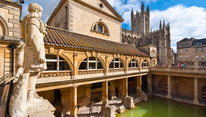The traditional bath houses in Bath, England.