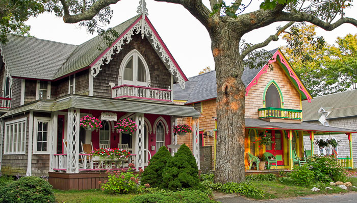 Picturesque homes with colorful facades in Cape Cod.