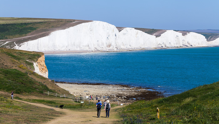 A view of the white cliffs at Dover, UK