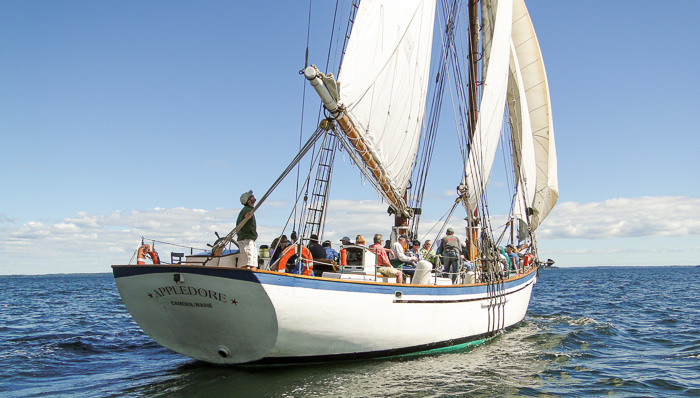 The Appledore II, the legendary wooden schooner in picturesque Penobscot Bay.