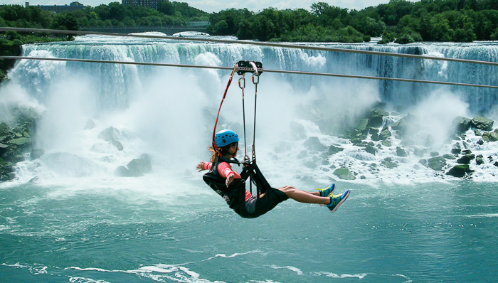 Zip line over Niagara Falls