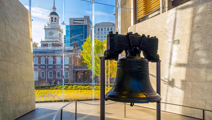 The Liberty Bell which famously rang as the Declaration of Independence was read out in Philadelphia in 1776.