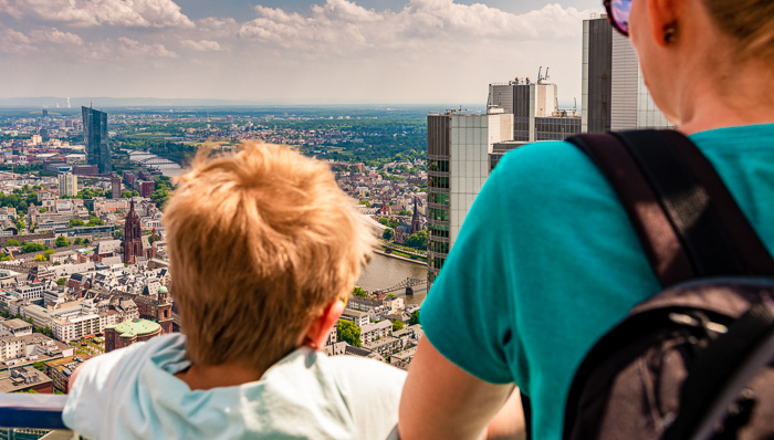 Mother and child looking over Frankfurt.