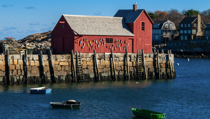 Cold Autumn morning along the Atlantic coast at the New England Town.