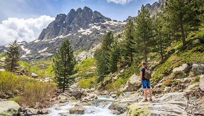 A forest experience. Guy trekking along the brook / water stream towards a rocky mountain.