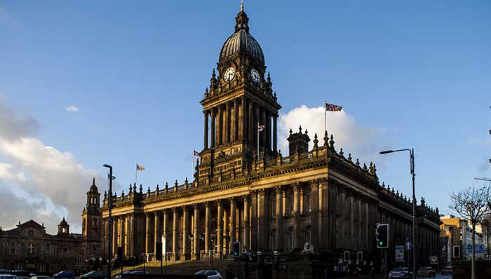 Leeds Townhall, Leeds, UK. Old administrative building. Architecture of Leeds.