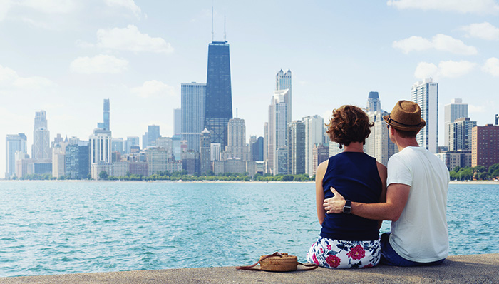 Couple looking at Chicago skyline