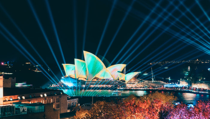 view of the illuminated sydney opera house