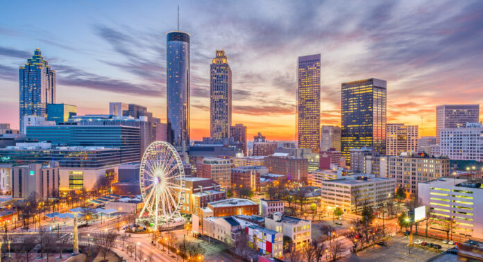View of Atlanta in the evening. USA