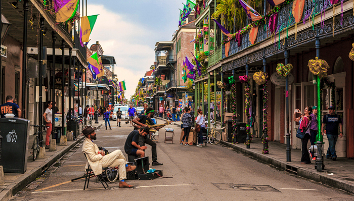 New Orleans USA  Feb 2 2016: Street musicians are  all over in the French Quarter's  streets of New Orleans.