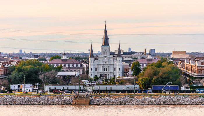 High angle view of St. Louis Cathedral and Jackson Square in French Quarter, New Orleans, LA, USA