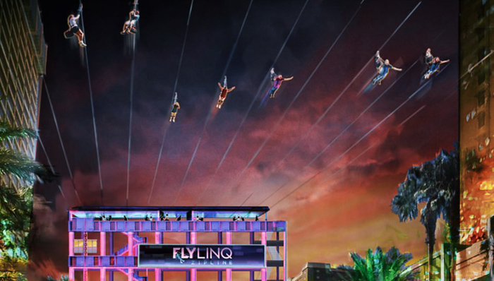 image of flying people (on ziplines) at a the last vegas fly linq show