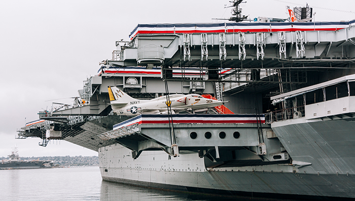 a picture of USS midway with a war plane on it