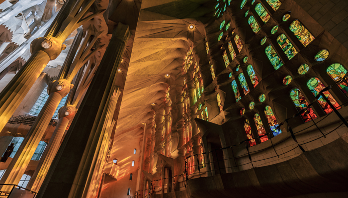 Image of the stained glass from inside the Sagrada Familia