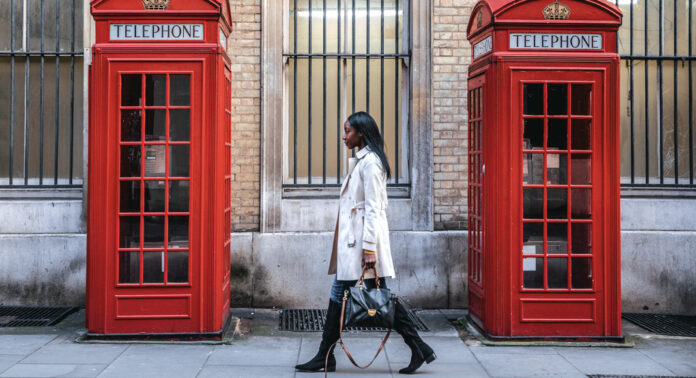 Outdoor walks, young woman walking in Central London for shopping
