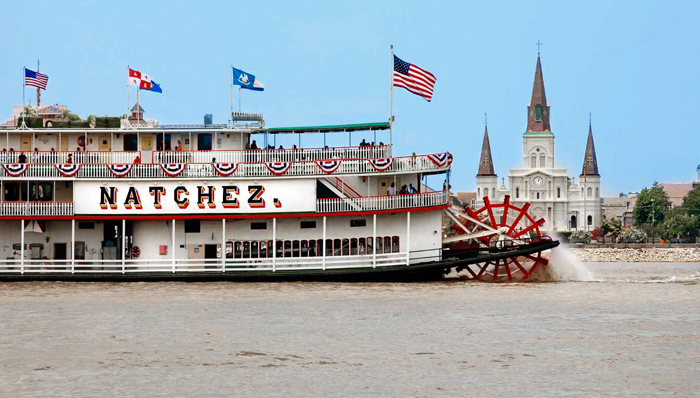 Cruise boat on the Mississippi river