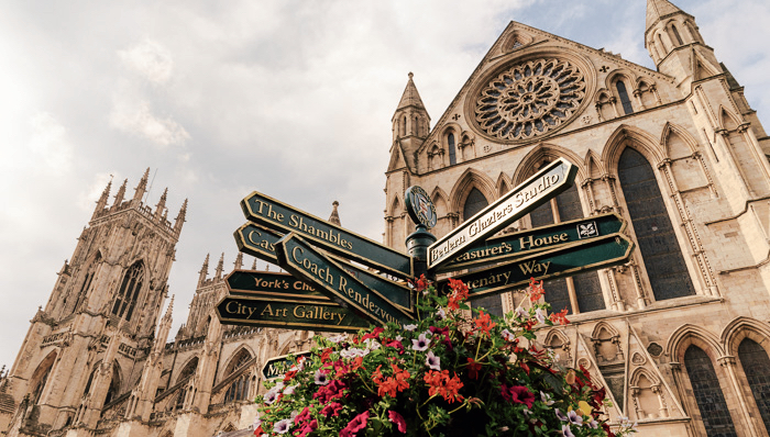 Tourist information sign in front of the York Cathedral