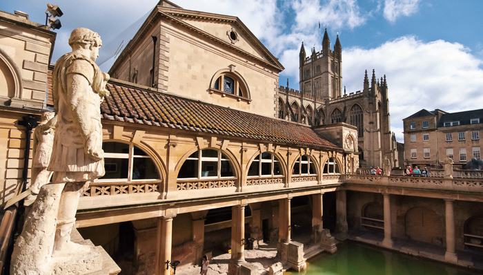The Ancient Roman Baths in the English city of Bath, UK