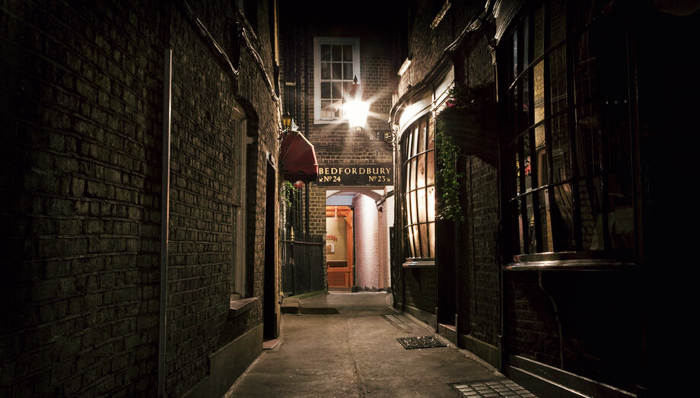 Narrow street  in East London, part of the Jack the Ripper tour - London, UK