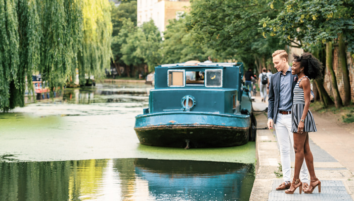 A couple enjoying a visit to Regent's Canal in London, UK